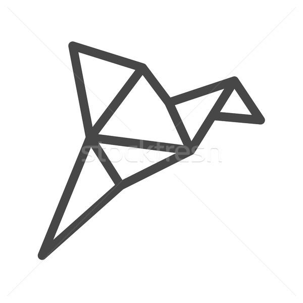 Origami uccello sottile line vettore icona Foto d'archivio © smoki