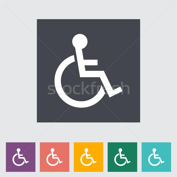 Handicapées icône bleu peinture aider silhouette Photo stock © smoki
