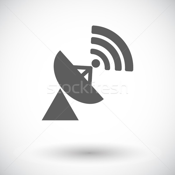 Satellite antenna icona bianco televisione mondo Foto d'archivio © smoki