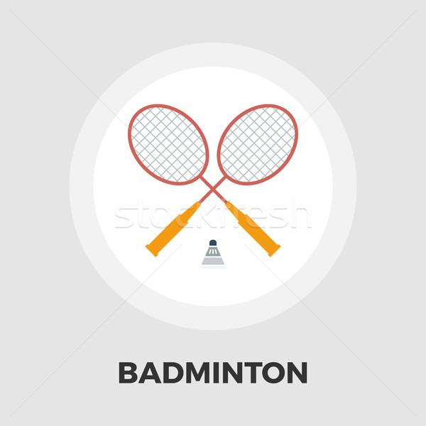 Badminton flat icon Stock photo © smoki