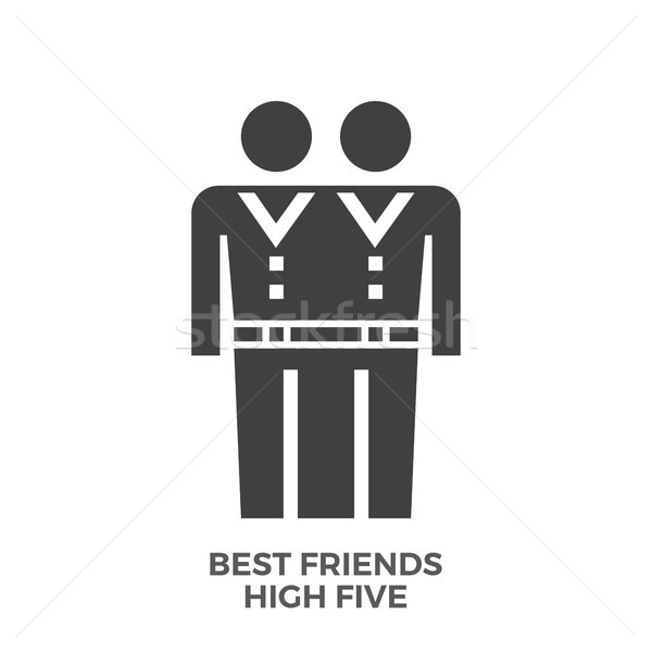 Best Friends High Five Glyph Vector Icon. Stock photo © smoki
