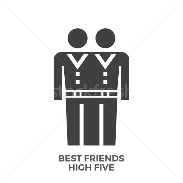 Best Friends High Five Glyph Vector Icon. Stock photo © smoki