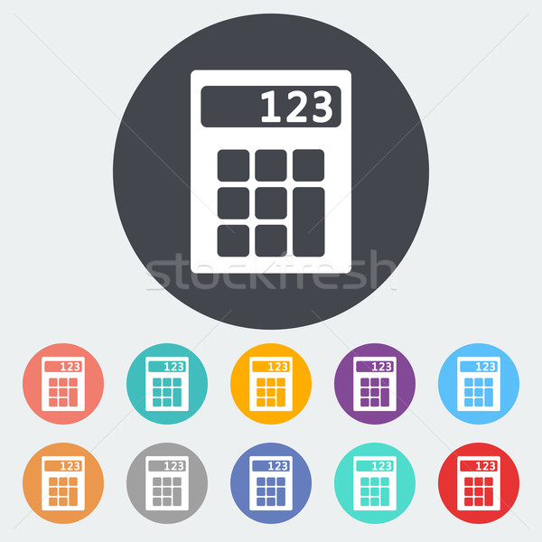 Kalkulator ikona kółko projektu technologii klawiatury Zdjęcia stock © smoki