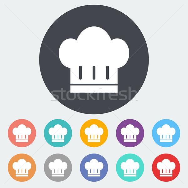 Szakács sapka ikon kör terv felirat szakács Stock fotó © smoki