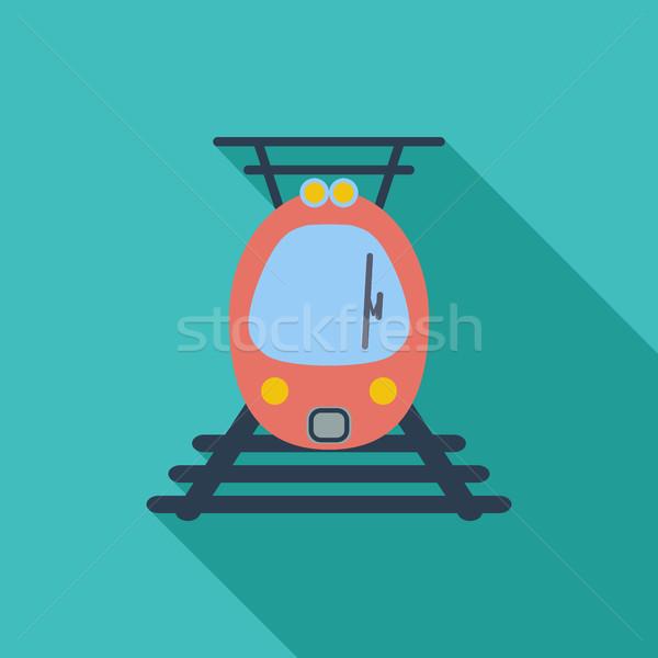 Suburbano elétrico trem ícone vetor longo Foto stock © smoki