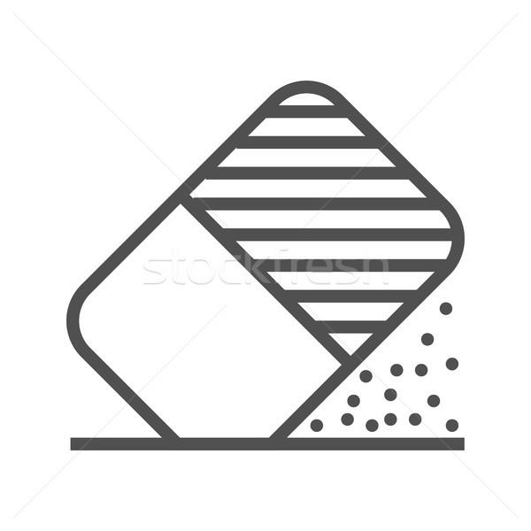 Radír szerszám vonal ikon vékony vektor Stock fotó © smoki