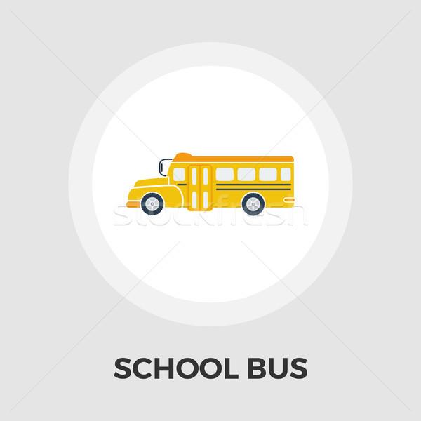 Iskolabusz ikon vektor izolált fehér szerkeszthető Stock fotó © smoki