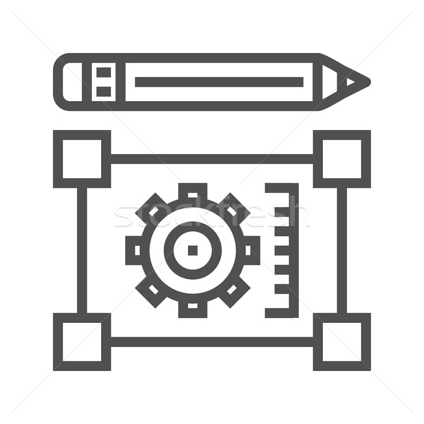 Pensil with blueprint line icon Stock photo © smoki