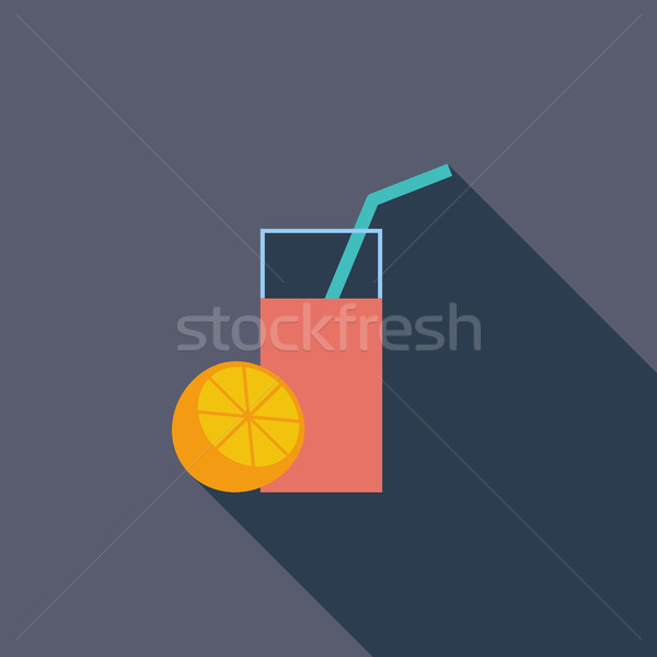 Jugo de fruta icono vector largo sombra web Foto stock © smoki
