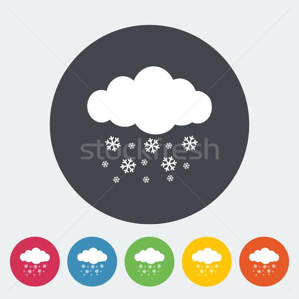 Queda de neve ícone círculo natureza assinar azul Foto stock © smoki