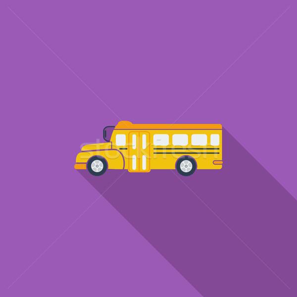 Iskolabusz ikon vektor hosszú árnyék háló Stock fotó © smoki