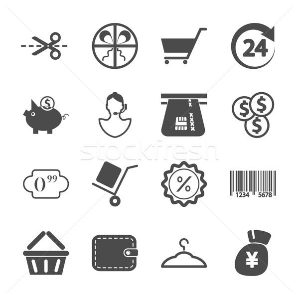 Winkelen iconen grijs witte ingesteld business Stockfoto © smoki