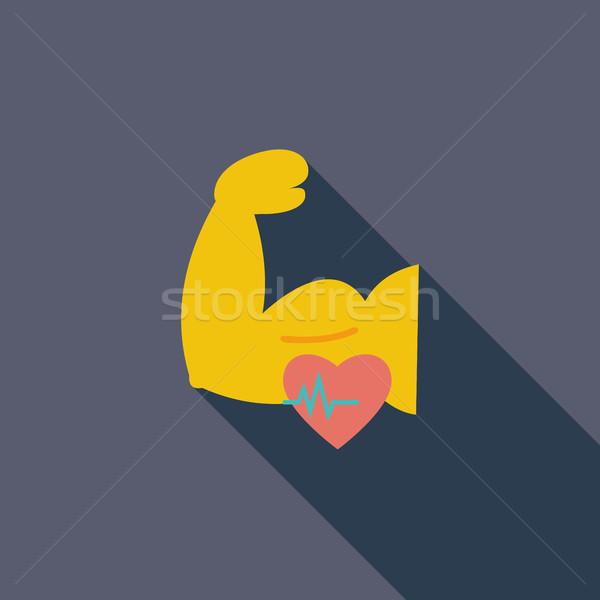 Stock fotó: Ikon · testépítés · vektor · hosszú · árnyék · háló