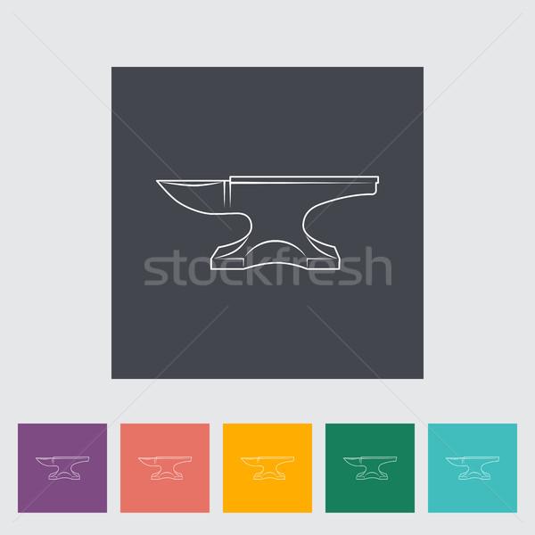 üllő kovács felszerlés ikon gomb építkezés Stock fotó © smoki