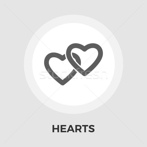 Kalp vektör ikon yalıtılmış beyaz düzenlenebilir Stok fotoğraf © smoki