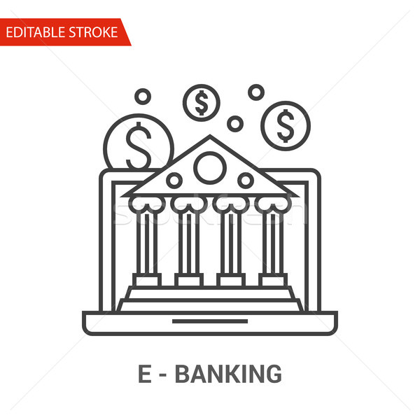 E-Banking Icon. Thin Line Vector Illustration Stock photo © smoki