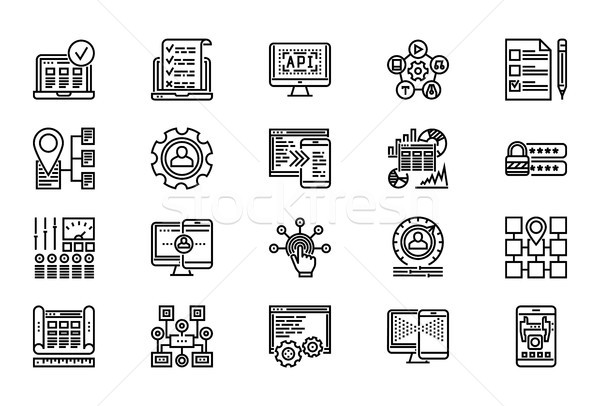 Web Development Line Icon Set Stock photo © smoki