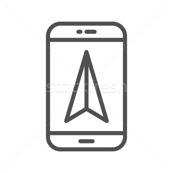 Mobil GPS navigáció vonal ikon vékony Stock fotó © smoki
