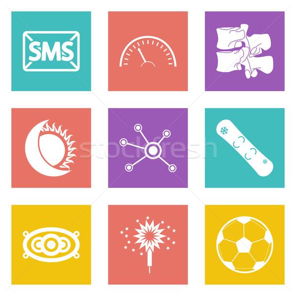 Szín ikonok web design szett 40 mobil Stock fotó © smoki