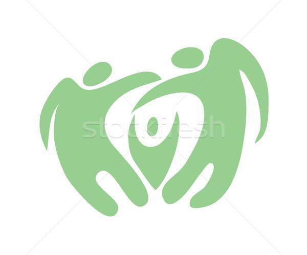 Stockfoto: Familie · icon · elegante · groene · abstract · hand