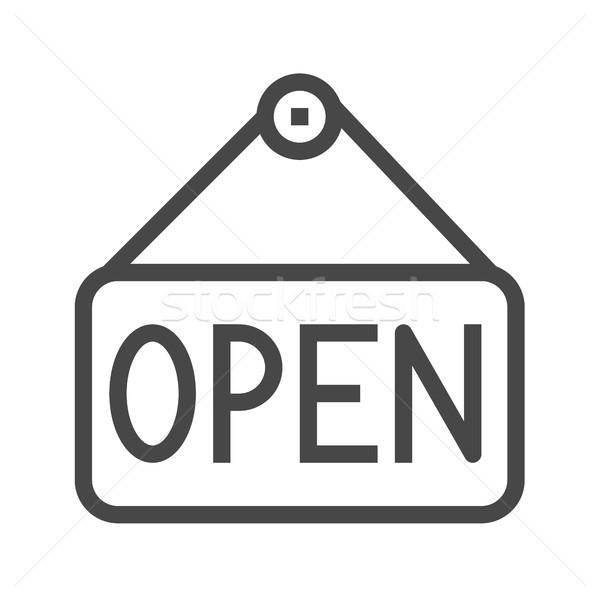 Nameplate Open Thin Line Vector Icon Stock photo © smoki