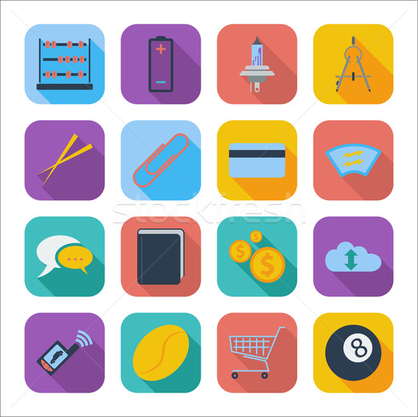 Cor ícones web design móvel aplicação escritório Foto stock © smoki
