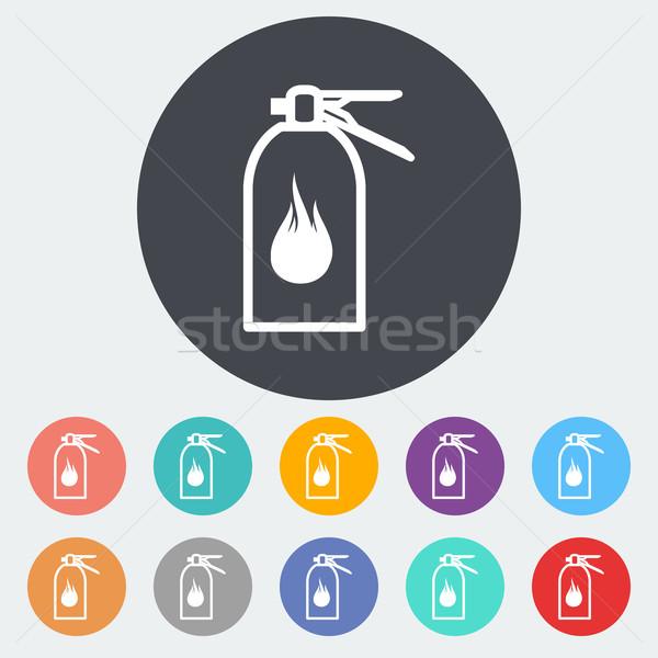 Tűzoltó készülék ikon kör tűz terv technológia Stock fotó © smoki