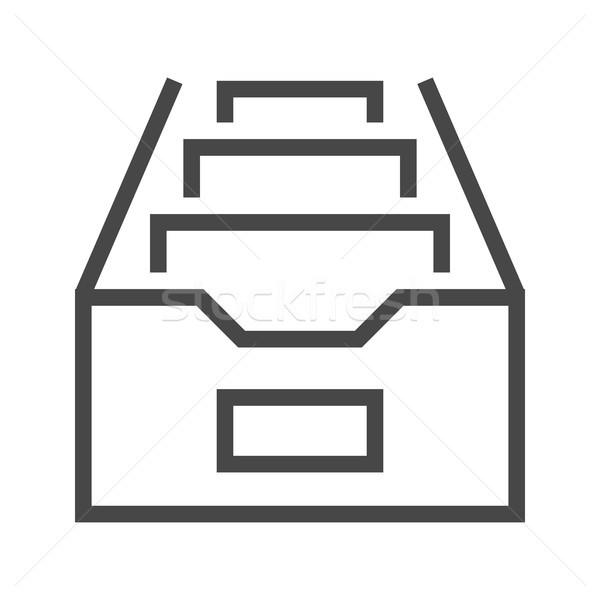 File Cabinet Thin Line Vector Icon Stock photo © smoki