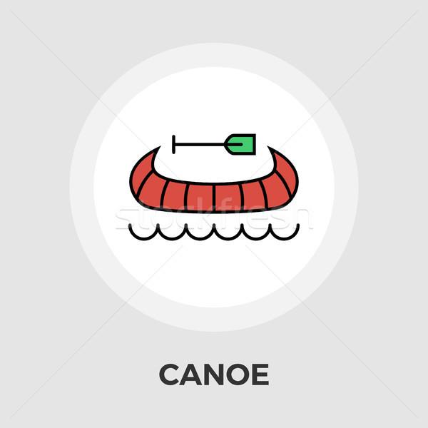 каноэ вектора икона изолированный белый Сток-фото © smoki