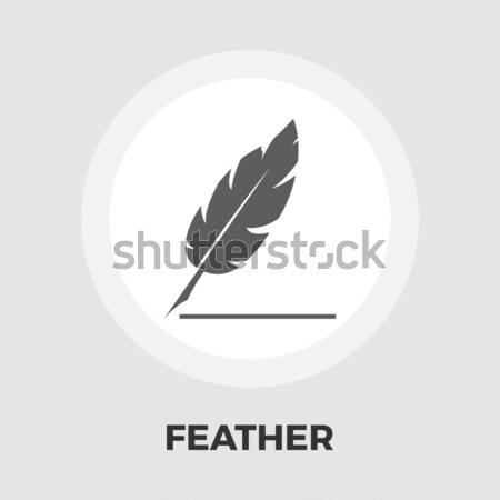 Feather flat icon Stock photo © smoki