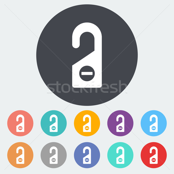 Deur tag icon cirkel teken ontspannen Stockfoto © smoki