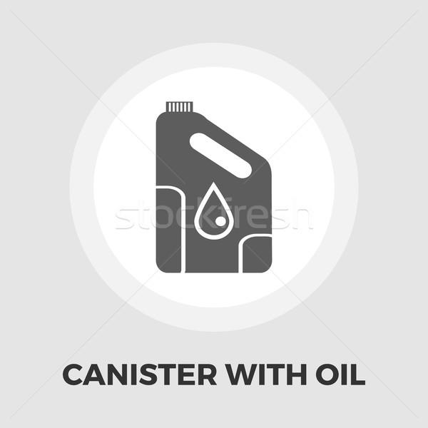 Cans of engine oil flat icon Stock photo © smoki