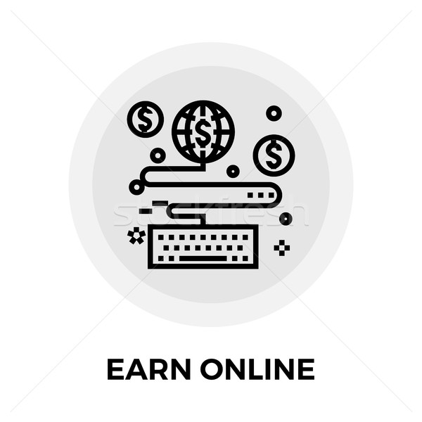 Earn Online Line Icon Stock photo © smoki