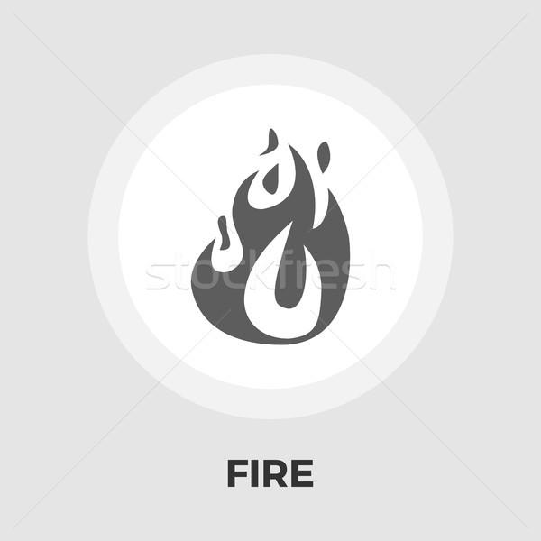 огня икона вектора изолированный белый Сток-фото © smoki