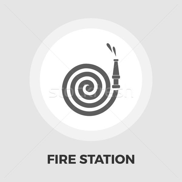 Fire Station flat icon Stock photo © smoki