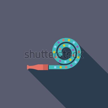Parti üfleyici ikon vektör uzun gölge Stok fotoğraf © smoki