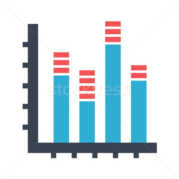 Oszlopdiagram vektor ikon izolált fehér szerkeszthető Stock fotó © smoki