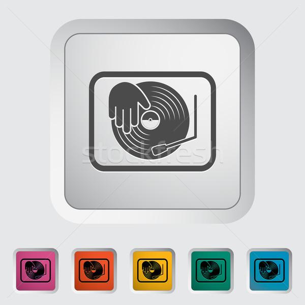Turntable icône bouton musique fête danse Photo stock © smoki