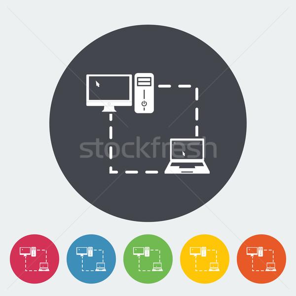 Computer sync single flat icon. Stock photo © smoki