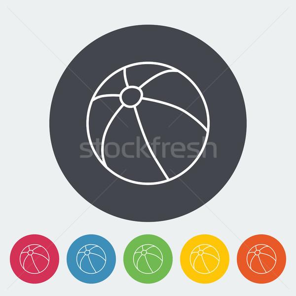 Ballon de plage icône léger ligne vecteur web Photo stock © smoki