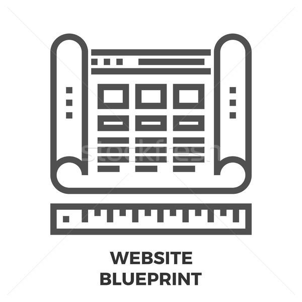 Website blauwdruk lijn icon dun vector Stockfoto © smoki