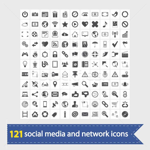 Social media and network icons Stock photo © smoki