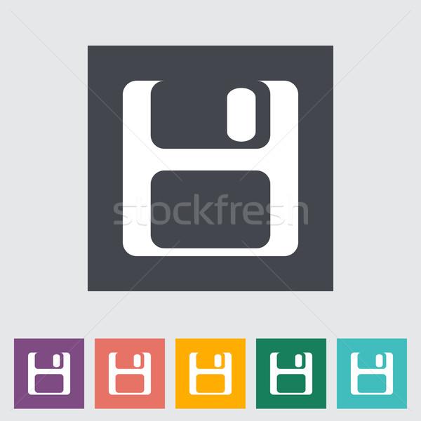 Manyetik disk ikon teknoloji imzalamak siyah Stok fotoğraf © smoki