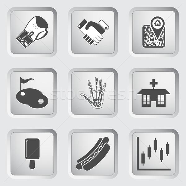 Icons on the buttons for Web Design. Set 8 Stock photo © smoki