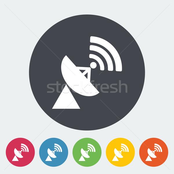 Satellite antenna icona cerchio televisione mondo Foto d'archivio © smoki