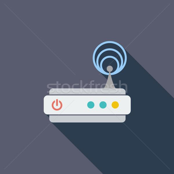 Router icon vector lang schaduw web Stockfoto © smoki