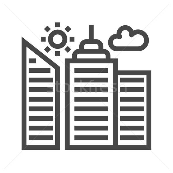 City Building Thin Line Vector Icon Stock photo © smoki