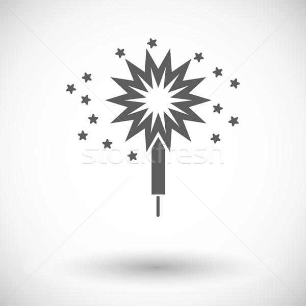 Sparkler ícone branco festa fogos de artifício explosão Foto stock © smoki