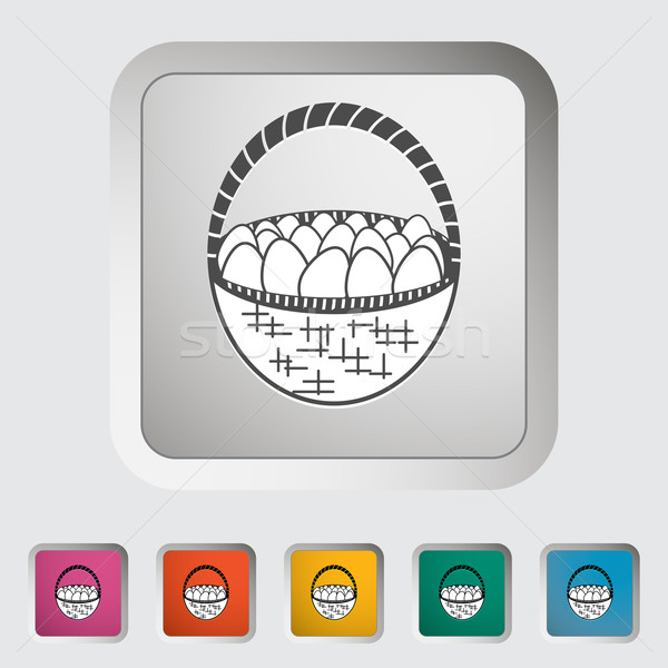 Basket of eggs single icon. Stock photo © smoki