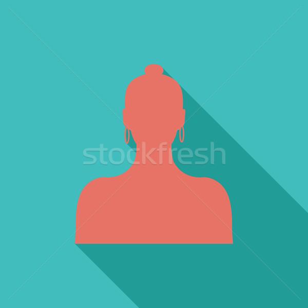 Stok fotoğraf: Kadın · avatar · ikon · vektör · uzun · gölge